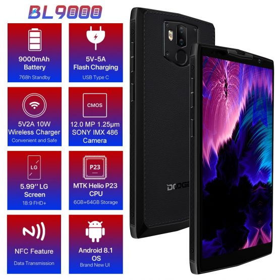 "DOOGEE BL9000 Smartphone 5V5A Flash Charge 9000mAh Wireless Charge 6GB 64GB Helio P23 Octa Core 5.99"" FHD+ Android 8.1"