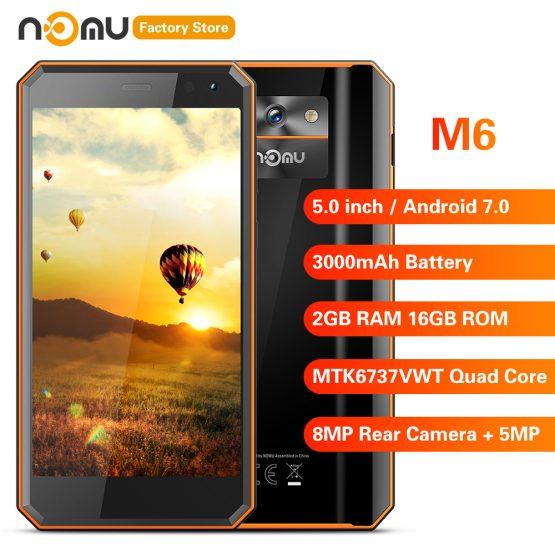 IP68 NOMU M6 4G Smartphone 5.0 inch Android 7.0 MTK6737VWT Quad Core 1.5GHz 2GB RAM 16GB ROM 8.0MP Rear Camera 3000mAh Battery