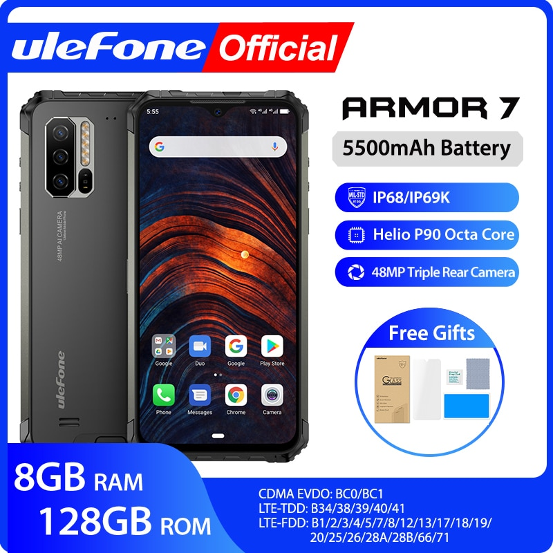 Ulefone Armor 7 IP68 Rugged Mobile Phone Helio P90 Octa Core 8GB+128GB Android 9.0 48MP 4G LTE Camera Global Version Smartphone