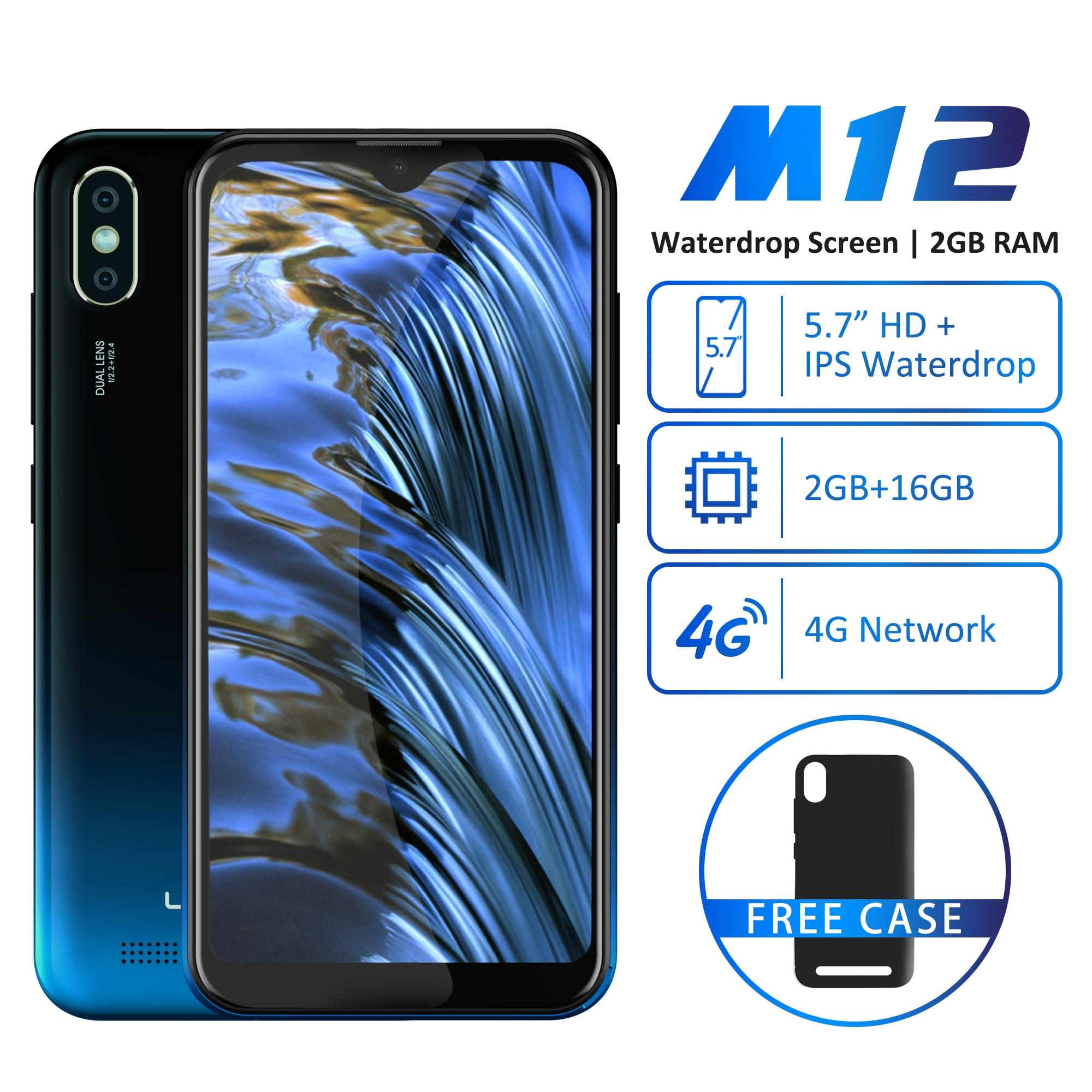 "LEAGOO M12 Android 9.0 Smartphone 5.7"" Water-drop 19:9 Screen 2GB RAM 16GB ROM MT6739WW Quad Core Fingerprint Face ID 4G Mobile"