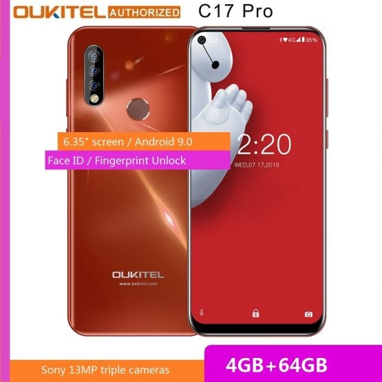 "OUKITEL New 4G Smartphone C17 Pro 6.35"" 19:9 Android 9.0 MT6763 Octa Core 4G RAM 64G ROM Fingerprint 3900mAh Mobile Cell Phone"