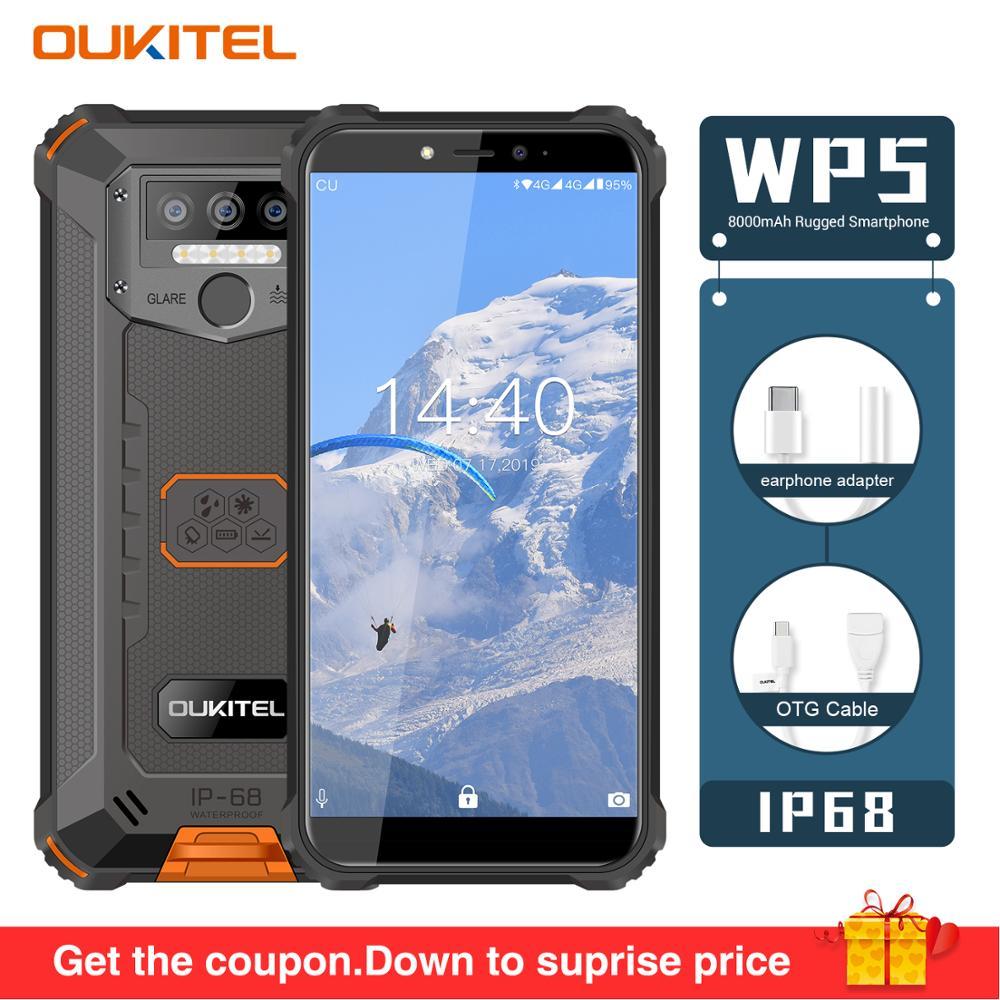 "Original OUKITEL WP5 5.5""FHD 18:9 Android 9.0 Mobile Phone MTK6761 Quard Core 5V/2A 8000mAh Battery 4GB RAM 32GB ROM Smartphone"