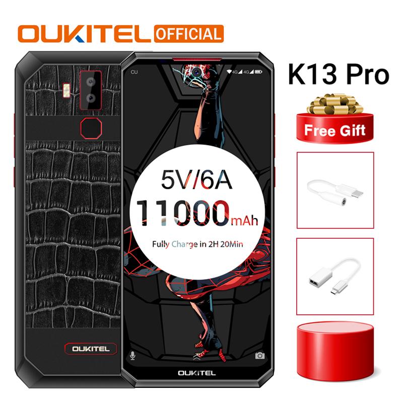 """OUKITEL K13 Pro Android 9.0 MT6762 Mobile Phone 6.41"""" 19.5:9 Screen 4G RAM 64G ROM 5V/6A 11000mAh OTA Fingerprint NFC Smartphone"""