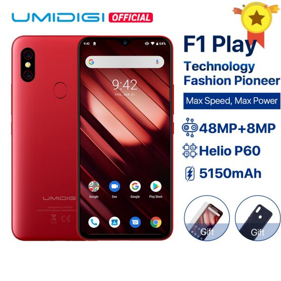 "UMIDIGI F1 Play Android 9.0 6GB RAM 64GB ROM 48MP+8MP+16MP Cameras 5150mAh 6.3"" FHD+ Helio P60 Global Version Smartphone Dual 4G"