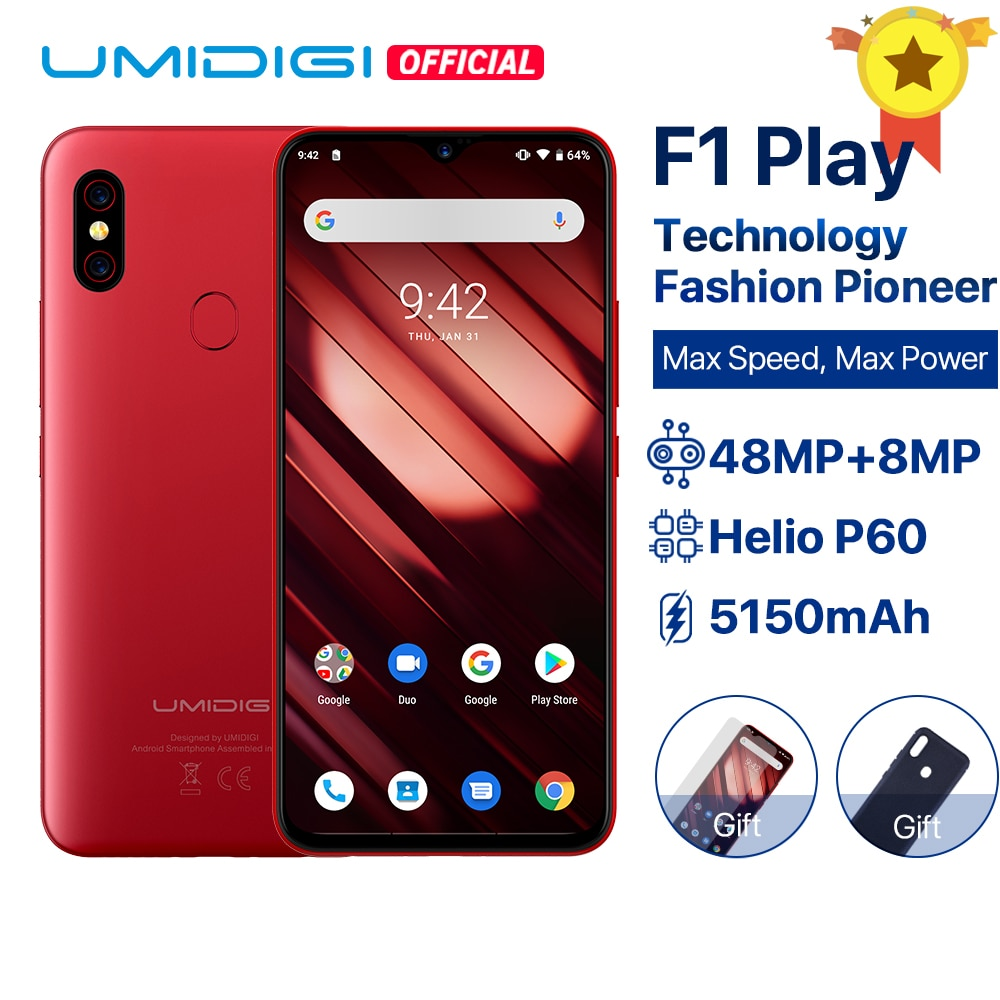 "UMIDIGI F1 Play Android 9.0 6GB RAM 64GB ROM 48MP+8MP+16MP Cameras 5150mAh 6.3"" FHD+ Helio P60 Global Version Smartphone Dual 4G"