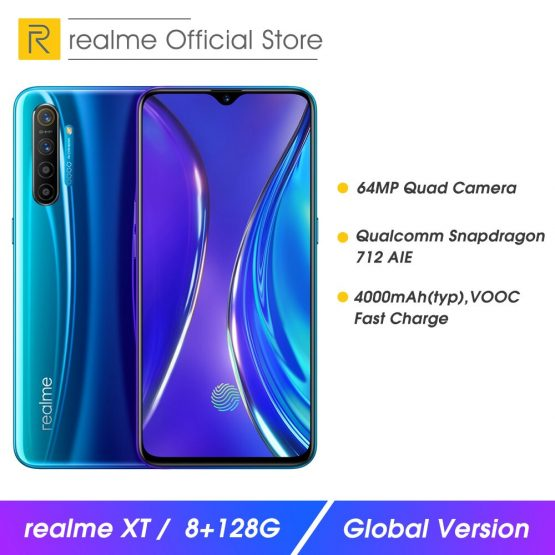 realme XT 8 RAM 128GB ROM NFC Mobile Phone Snapdragon 712 AIE 64MP Quad Camera Cellphone VOOC 20W Fast Charge 4000mAh Smartphone