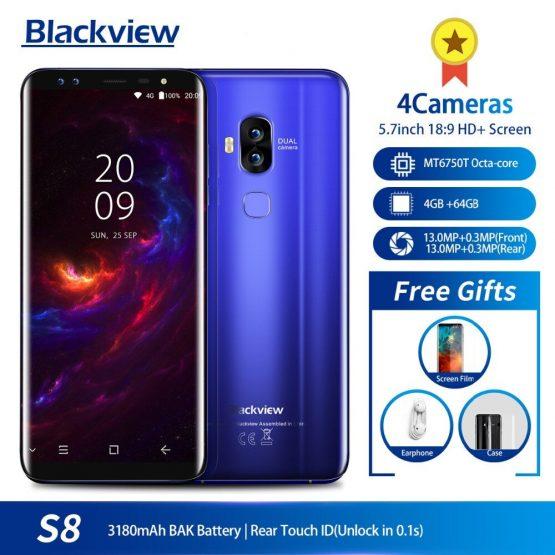 "original Blackview S8 5.7"" 18:9 HD MT6750T Octa Core Smartphone 4GB RAM 64GB ROM Dual SIM Fingerprint OTG 4G LTE Mobile Phone"