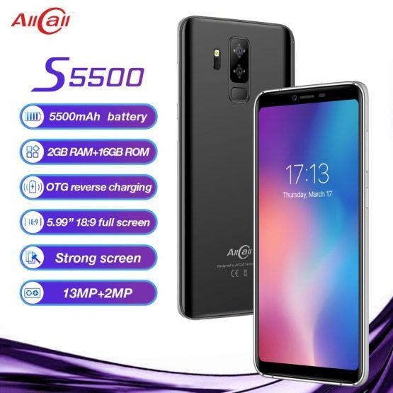 "Original AllCall S5500 5.99"" 18:9 5500mAh Battery Android 8.1 MTK6580M Quad Core 2GB RAM 16GB ROM 13.0MP+2MP Cameras Smartphone"