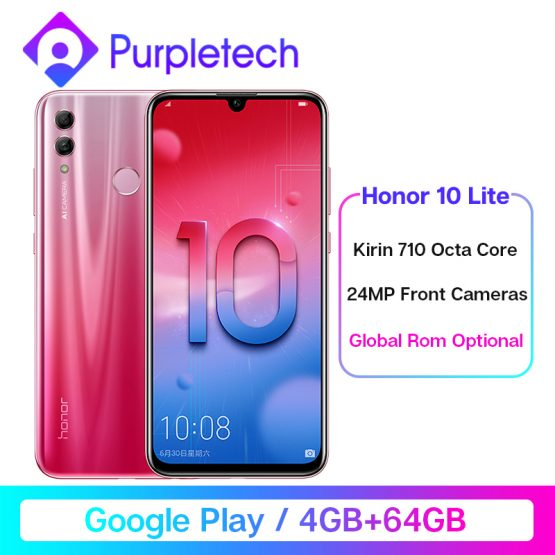 """Global ROM Honor 10 Lite Smartphone 4GB /64GB Kirin 710 Octa Core 6.21"""" 2340X1080P 24MP Front Camera Android 9.0 Cell Phones"""
