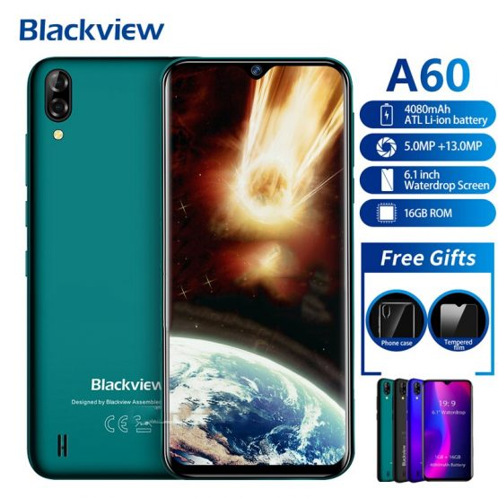 Presale Blackview A60 Smartphone 4080mAh 19:9 6.1 inch dual Camera 1GB RAM 16GB ROM Mobile phone 13MP+5MP MT6580 3G Mobile Phone