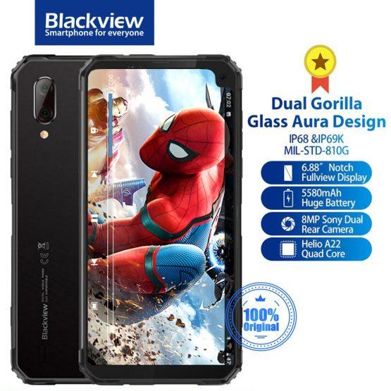 "Blackview BV6100 IP68&IP69K Waterproof Rugged Style Dual Gorilla Android 9.0 NFC 6.88"" Screen Smartphone 5580mAh Mobile Phone"