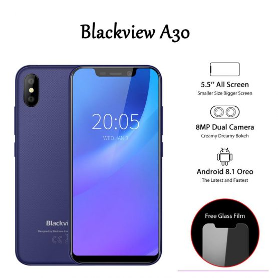 Blackview A30 3G Face ID Mobile Phone 5.5inch Android 8.1 Smartphone Quad Core 19:9 Full Screen Mobilephones MTK6580A 2GB+16GB