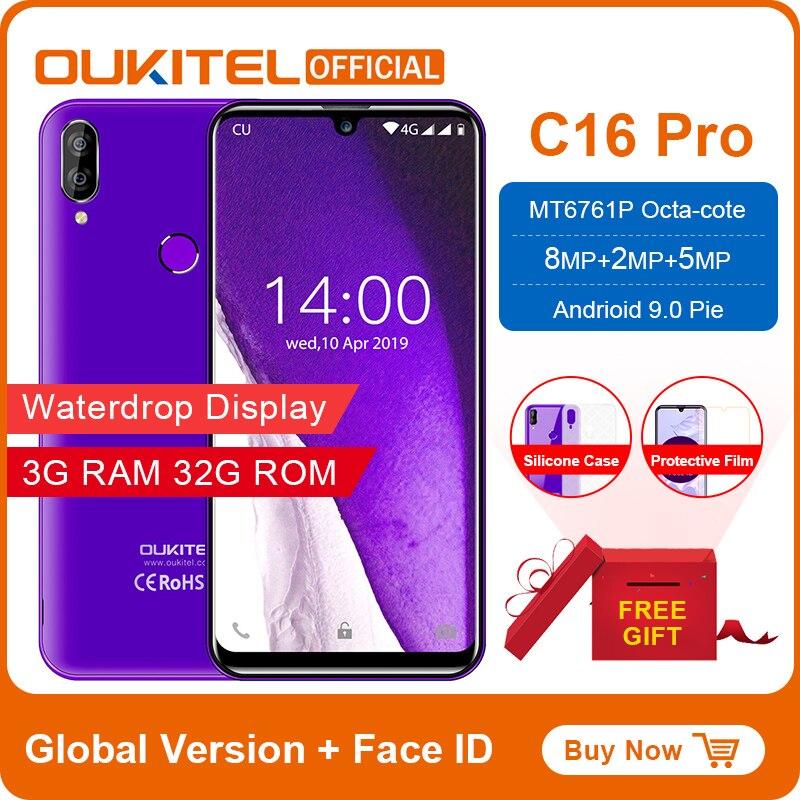 "OUKITEL C16 Pro Smartphone 3GB 32GB MTK6761P Quad Core 5.71"" Waterdrop Screen 19:9 Fingerprint LTE 2600mAh Face ID Mobile Phone"
