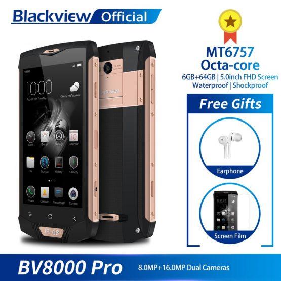 Blackview BV8000 Pro Smartphone Waterproof MT6757 Octa-Core 6GB RAM 64GB ROM Fingerprint Dual SIM Mobile Phone 16.0MP Camera NFC