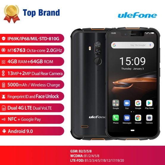 Ulefone Armor 5S 4G LTE Smartphone NFC Android 9.0 Rugged Mobile Phon 4GB+64GB Wireless Charge Waterproof IP68 MT6763 Otca-Core