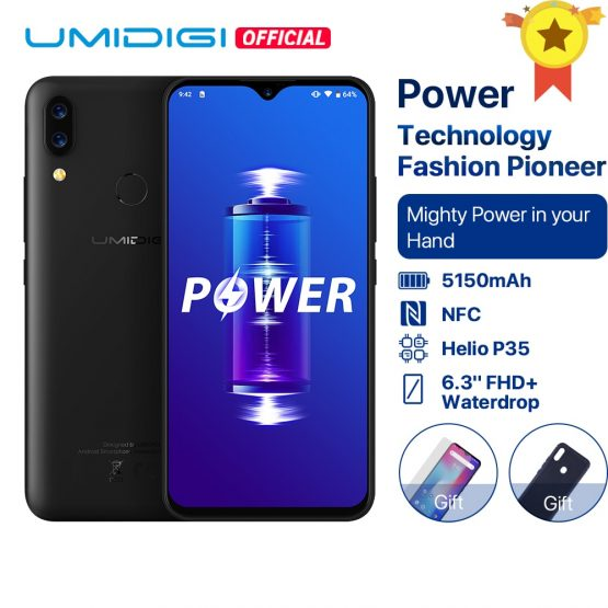 UMIDIGI Power Android 9.0 5150mAh Big Battery 18W 6.3' FHD+ Waterdrop Screen 4GB+64GB Helio P35 Global Version Smartphone 16MP