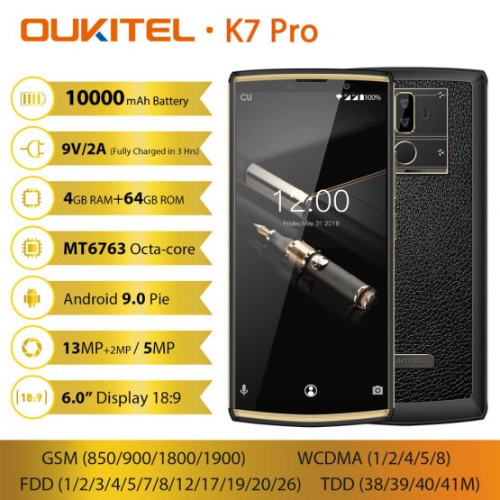"""OUKITEL K7 Pro 10000mAh 9V/2A Quick Charge Android 9.0 Smartphone Octa Core 4GB 64GB 6.0"""" FHD+ 18:9 Screen Face ID Mobile Phone"""