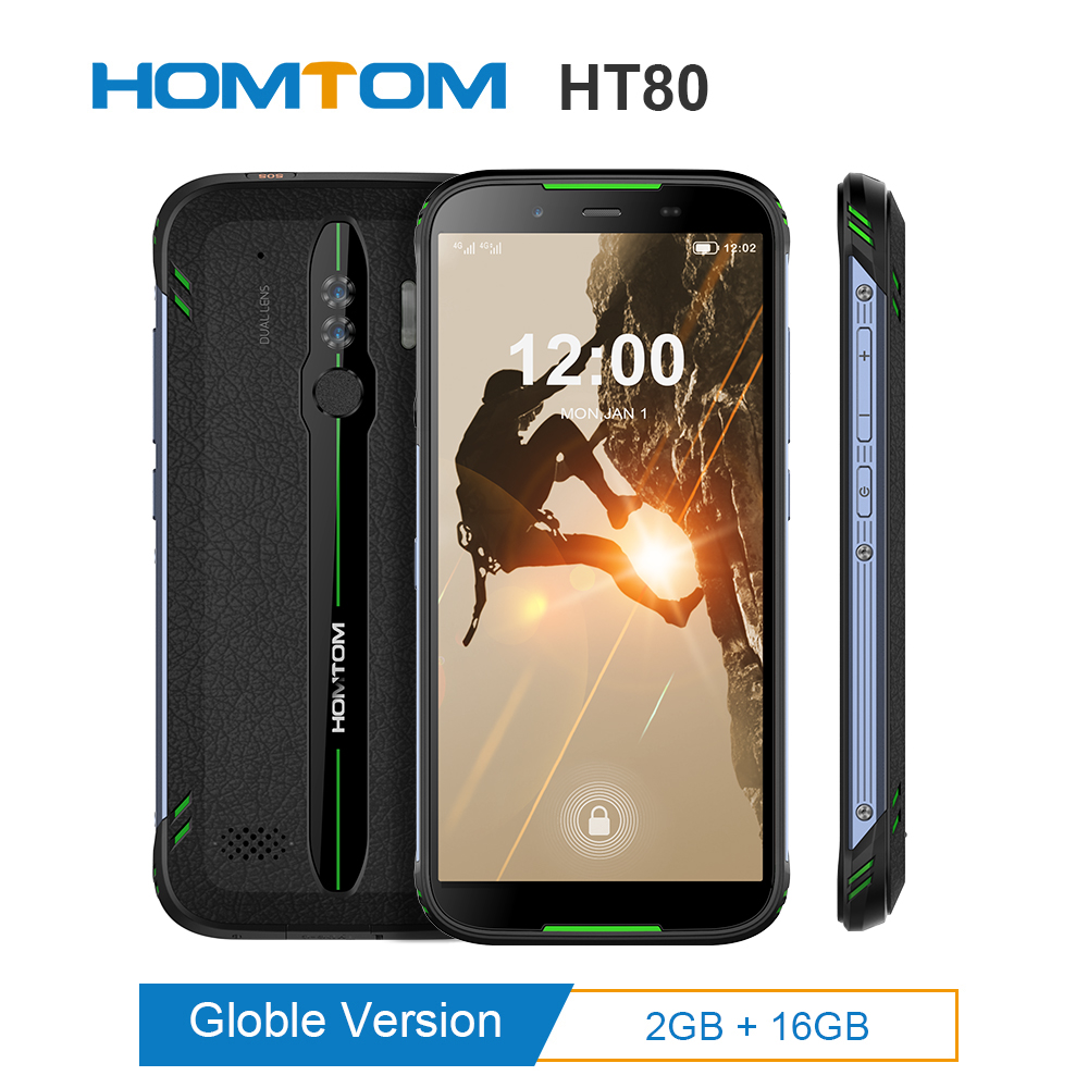 """HOMTOM HT80 IP68 Waterproof Smartphone 4G LTE Android 10.0 5.5"""" MT6737 NFC function Wireless fast charge SOS Mobile phone new"""