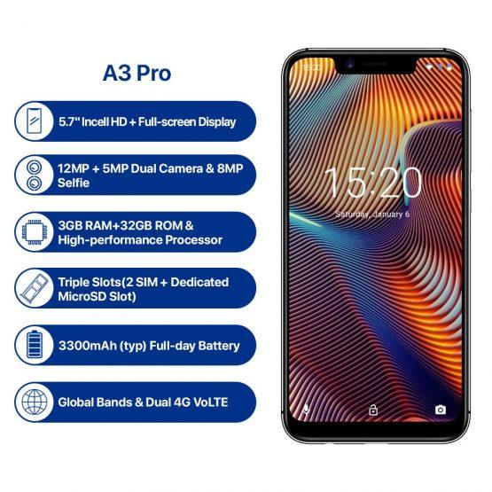 "UMIDIGI A3 Pro Android 9.0 Global Band 5.7""19:9 FullScreen smartphone 3GB RAM 32GB ROM Quad core 12MP+5MP Face Unlock Dual 4G"