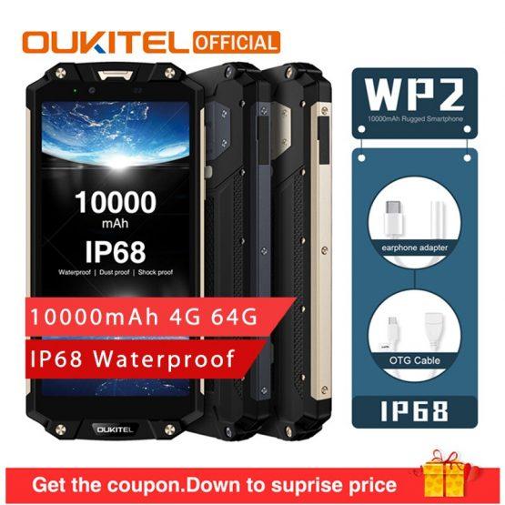 "OUKITEL WP2 10000mAh IP68 Waterproof Dust Shock Proof Smartphone 4GB 64GB MT6750T Octa Core 6.0"" 18:9 Fingerprint Mobile Phone"