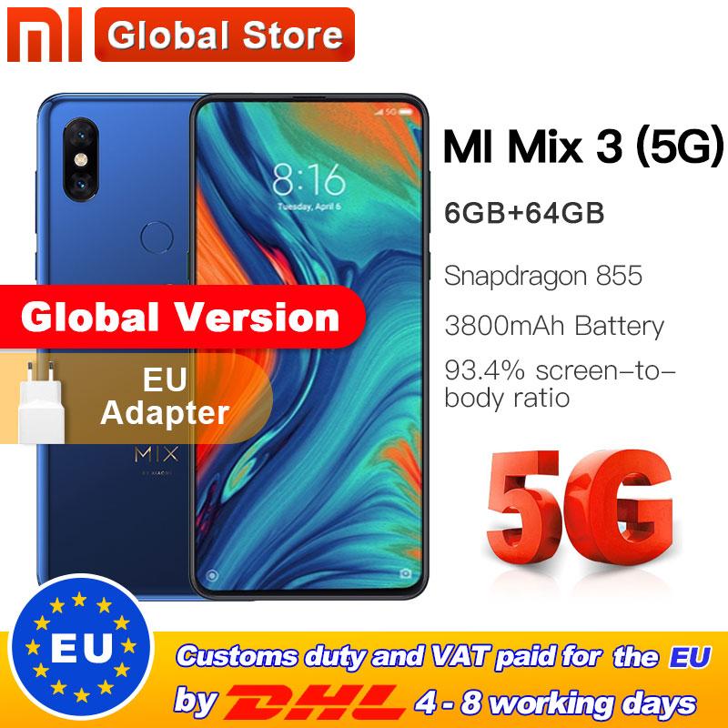 Global Version Xiaomi Mi Mix 3 5G Net 6GB 64GB Smartphone Snapdragon 855 6.39'' 3800mAh 24.0MP Front Camera 5G