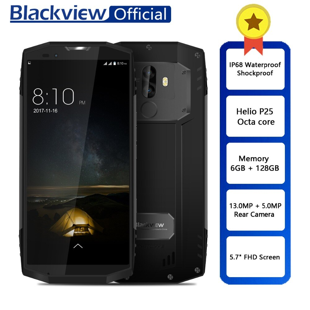 "Blackview BV9000 Pro Waterproof Shockproof Dual SIM Smartphone Helio P25 Octa Core 6GB + 128GB 5.7"" 18:9 Face ID Mobile Phone"