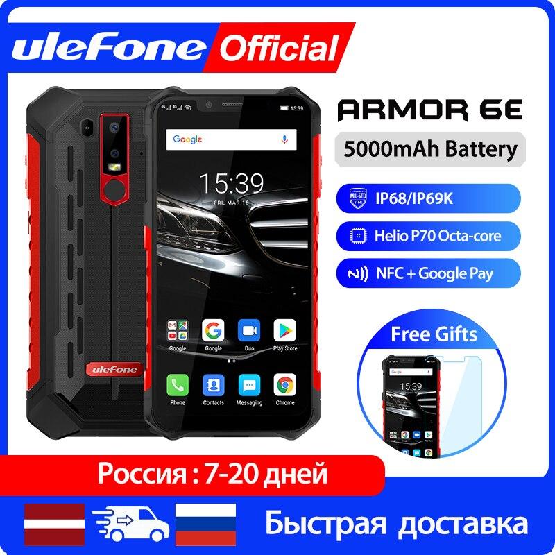 Ulefone Armor 6E Smartphone 4GB+64GB Android 9.0 Rugged Mobile Phone Waterproof IP68 NFC Helio P70 Otca-core wireless charge