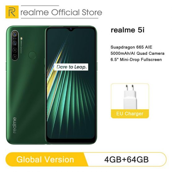 Global Version realme 5i 4GB RAM 64GB ROM Mobile Phone Snapdragon 665 AIE 12MP Quad Camera 6.5'' Cellphone 5000mAh Smartphone