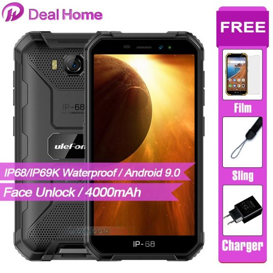 """Ulefone Armor X6 5.0"""" IP68 Waterproof Smartphone Android 9.0 MT6580 Cell Phone Quad Core 2GB 16GB 3G 4000mAh 8MP Mobile Phone"""