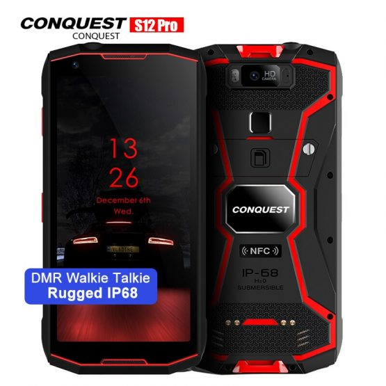 """Conquest S12 Pro IP68 Waterproof Rugged Smartphone P70 6GB+128GB 5.99"""" 8000mAh OTG NFC Android 9.0 DMR Walkie Talkie Cellphone"""