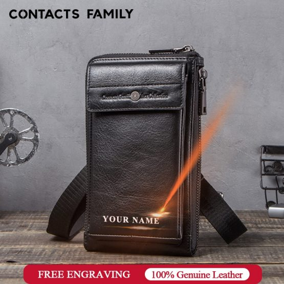 CONTACT'S FAMILY Phone Bag Case For iphone 11 pro max Messenger Leather Mini Crossbody Bag Men Wallet Cover for iphone 8 se 2020