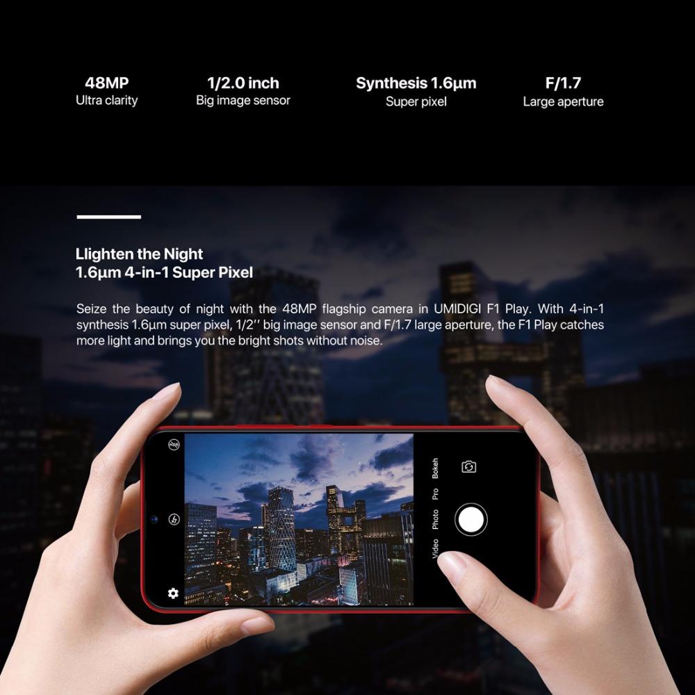 "UMIDIGI F1 Play Smartphone Android 9.0 48MP+8MP+16MP Cameras 5150mAh 6GB RAM 64GB ROM 6.3"" FHD+ Helio P60 Global Version Dual 4G"