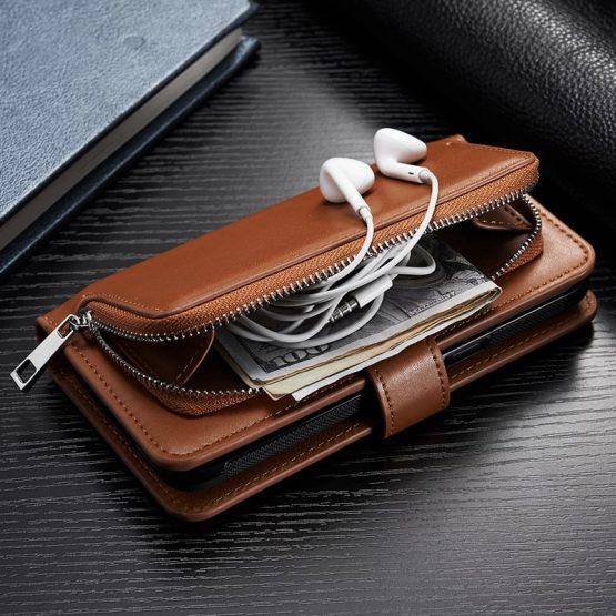 Zipper Leather Wallet Phone Case For iPhone 11 Pro Max XS XR 6S Plus 7 8 X SE 2020 Flip Cover Detachable Magnet Closure Handbag