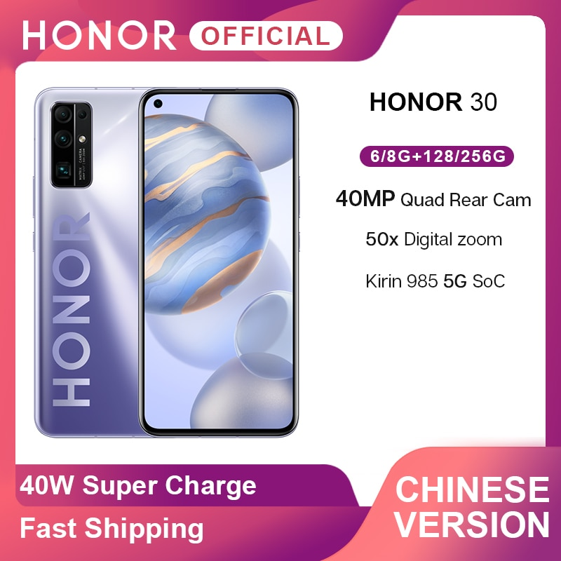 New Arrival Honor 30 5G Smartphone Kirin 985 6.53'' 40MP Quad Rear Cam 50x Digital Zoom Mobile Phones Android 10 SuperCharge 40W