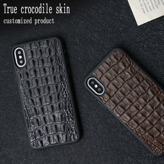 100% natural Crocodile Leather phone case for iphone X 11 Pro MAX XS Max XR 6S 6 7 8 plus 5 5S SE 2020 360 Full protective case