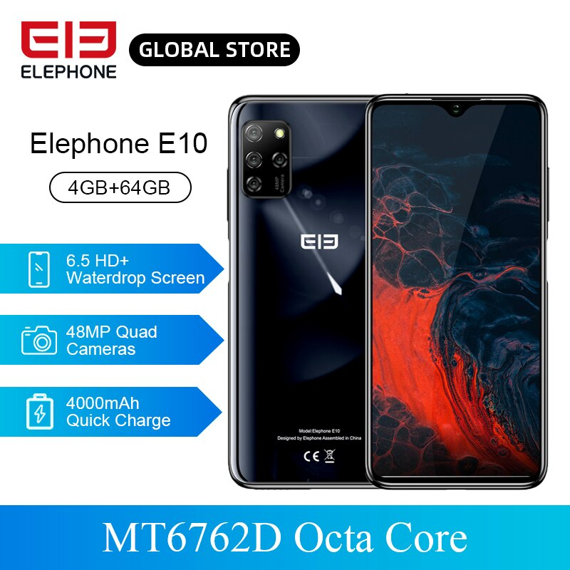 "Pre Sale ELEPHONE E10 SmartPhone MT6762D Octa Core 6.5"" HD+ 4000mAh 4GB 64GB Quick Charging Android 10 NFC Side Fingerprint"