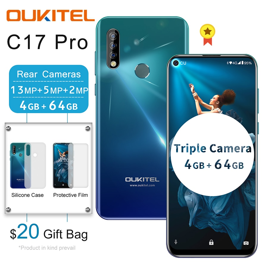"""OUKITEL C17 Pro 6.35"""" 19.5:9 Android 9.0 Mobile Phone MTK6763 Octa Core 4G 64G Dual 4G LTE Triple Camera 13MP Face ID Smartphone"""