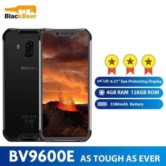 "Blackview BV9600E 6.21"" AMOLED Mobile Phone Helio P70 Android 9.0 Waterproof Rugged Smartphone 4G RAM 128G ROM Cellphone 5580mAh"