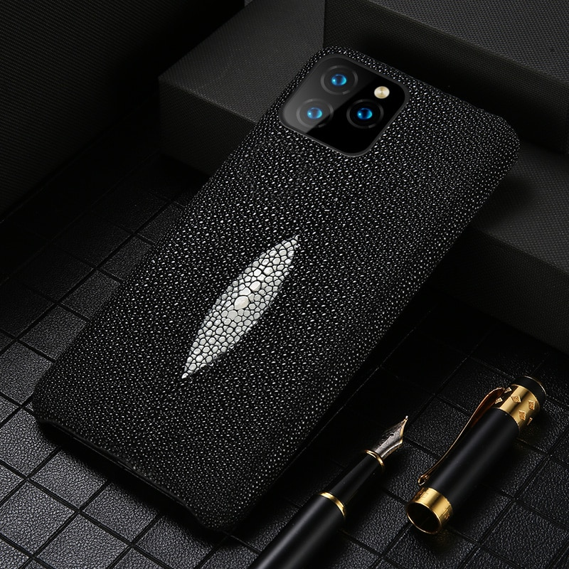 Genuine Pearl Gourami Leather Phone Case for Apple iPhone 11Pro 11 Pro Max X XR 7 Plus XS MAX 8 Plus 6 6S 5 5s SE 2 2020 cover