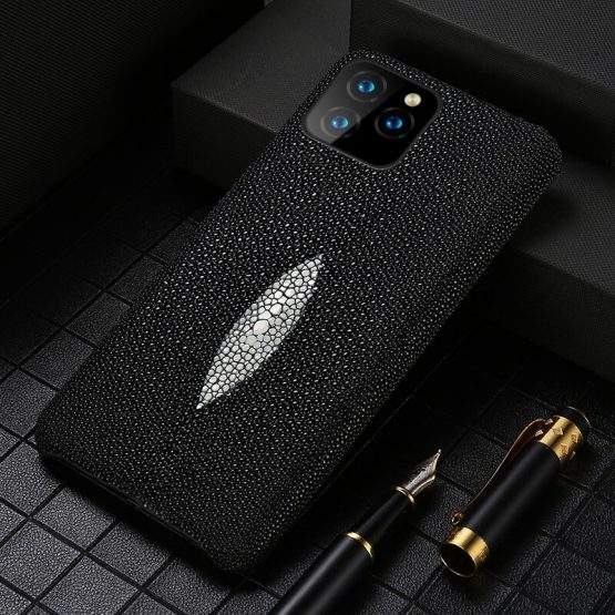 Luxury Genuine Pearl Gourami Leather Phone Case for Apple iPhone SE 2020 11 Pro XS Max X XR 6 6S 7 8 Plus Back Cover