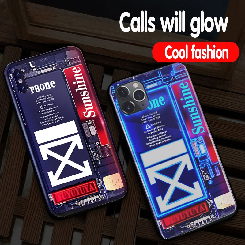 Luxury Creative Luminous Phone Case for iPhone SE 2020 11 Pro max 6 6s 7 8 Plus X XS Max XR Cool fashion Call flash Cover