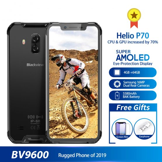 "Blackview BV9600 Waterproof shockproof Mobile Phone Helio P70 Android 9.0 4GB 64GB 6.21"" AMOLED 5580mAh 4G Rugged Smartphone"