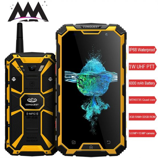 Conquest S8 IP68 Waterproof shockproof 4G Smartphone 3GB RAM 32GB ROM MTK6735 Quad-core Android 5.1 6000mah battery mobile phone