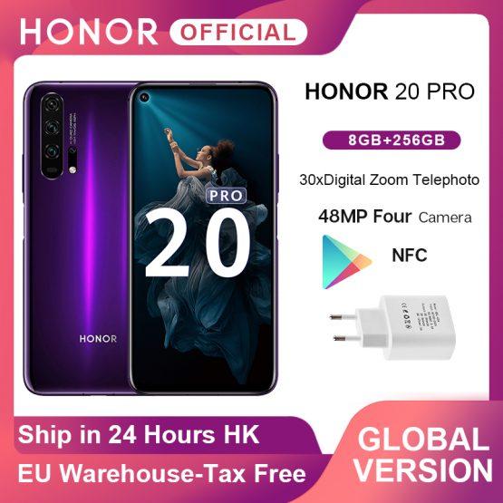 Global Version Honor 20 Pro Smartphone Kirin 980 Octa Core 7nm Google Play 6.26'' 8G 256G 48MP Four Camera NFC Google Play
