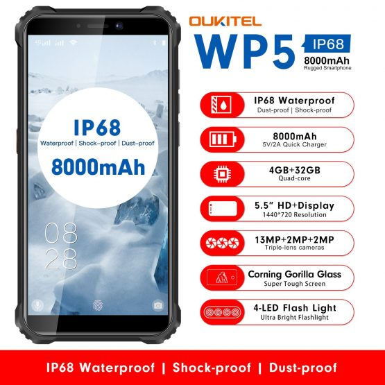 "OUKITEL WP5 5.5"" IP68 Waterproof Rugged MobilePhone MT6761 Quad Core Smartphone 4GB 32GB Cellphone 4-LED Flash Light 8000mAh GPS"