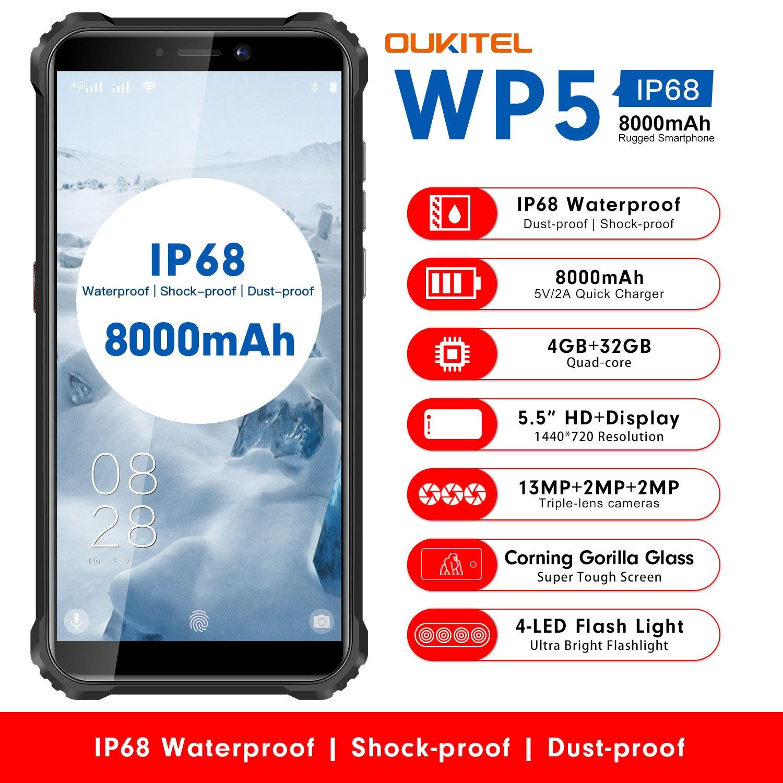 "OUKITEL WP5 5.5"" IP68 Waterproof Rugged MobilePhone MT6761 Quad Core Smartphone 4GB 32GB Cellphone 4-LED Flash Light 8000mAh GPS"