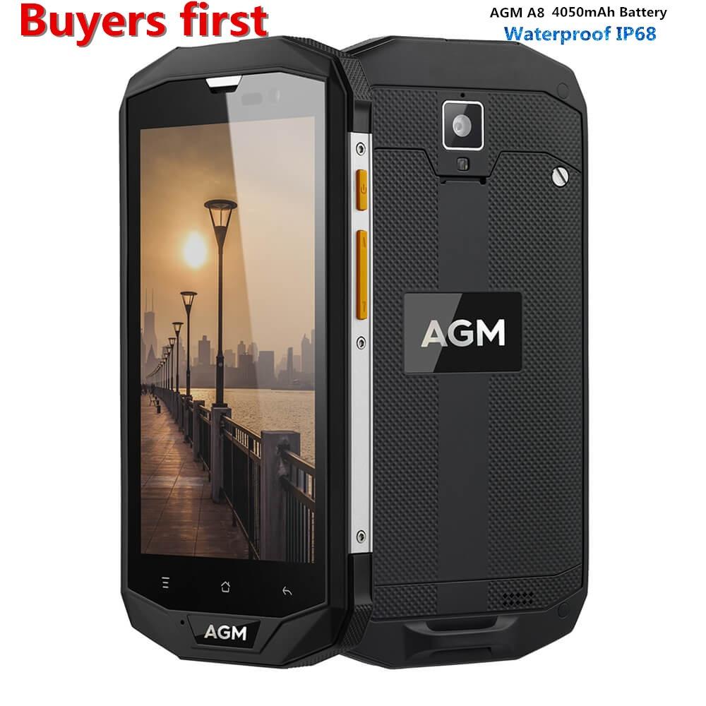 "AGM A8 5.0"" Qualcomm MSM8916 IP68 Waterproof Android 7.0 4G LTE Mobile Phone RAM 3GB/4GB ROM 32G /64GB 13.0MP 4050mAh smartphone"