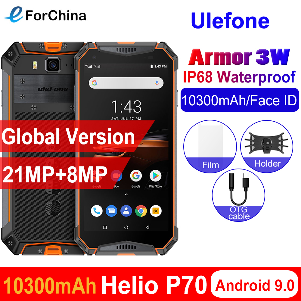 """Ulefone armor 3W IP68 Waterproof Android 9.0 Mobile Phones 5.7"""" Helio P70 6G+64G Face ID NFC Global Version Smartphone 10300mAh"""