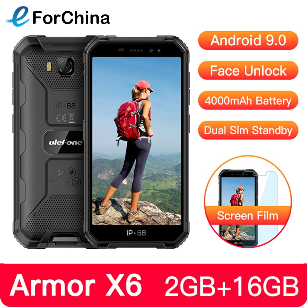 """Ulefone Armor X6 IP68 Rugged Waterproof Mobile Phone 5"""" Android 9.0 MTK6580A/W Quad Core 2GB+16GB Face ID 4000mAh 3G Smartphone"""