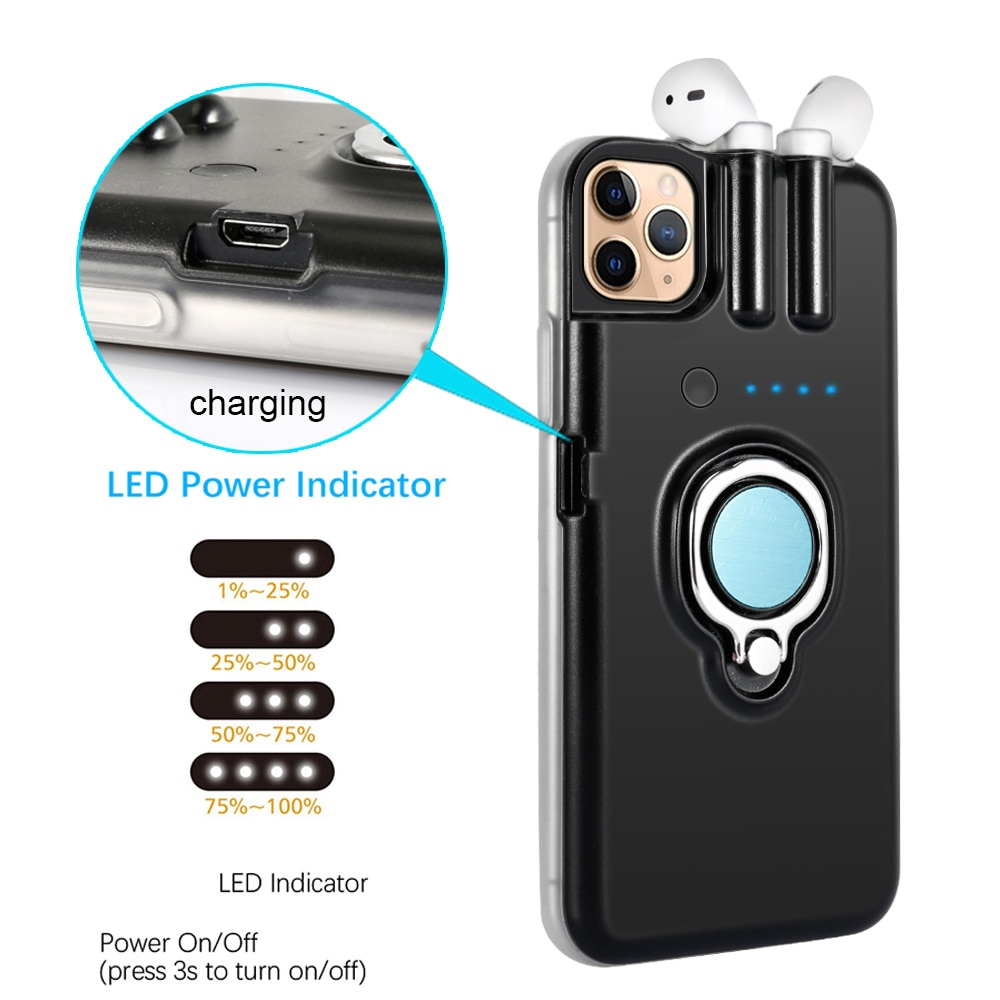 For iPhone SE 2020 11 Pro Max Xs Max Xr 8 7 6 6s Plus Case Finger Ring Holder Charging Cover For AirPods 1 2 Bluetooth Earphone